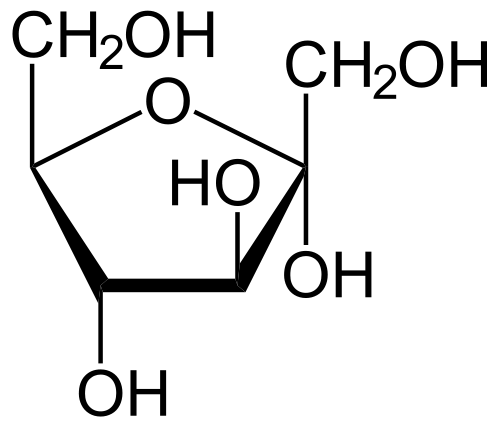 Laktoseintoleranz / Fruktoseintoleranz: Molekularstruktur der Fruktose (Fruchtzucker)